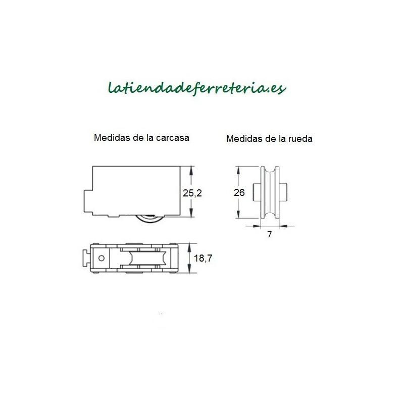 Rueda o Rodamiento Plastico Ventana rf. 110 medidas