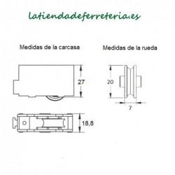 Rueda o Rodamiento Plástico Ventana rf. 112 medidas