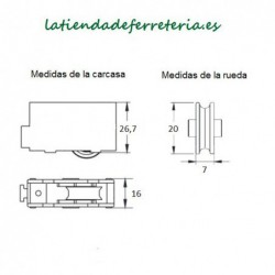 Rueda o Rodamiento Plástico Ventana rf. 113 medidas
