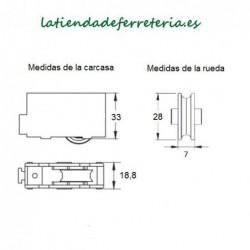 Rueda o Rodamiento Plástico Ventana rf. 114 medidas
