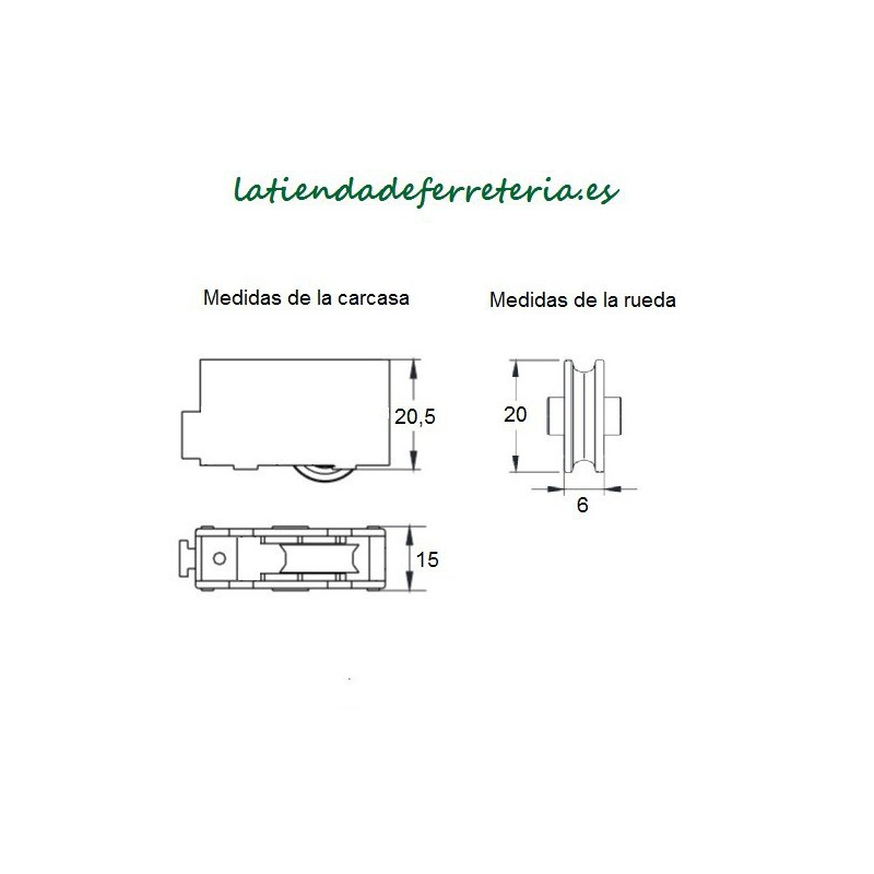 Rueda o Rodamiento Plástico Ventana rf. 116 medidas