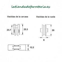 Rueda o Rodamiento Metalico rf. 162 medidas