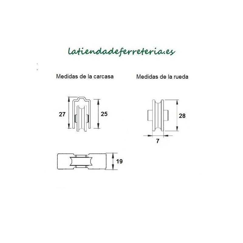 Rueda o Rodamiento Metalico rf. 181 medidas