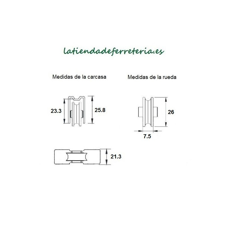 Rueda o Rodamiento Metalico rf. 183 medidas