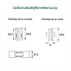 Rueda o Rodamiento Metalico rf. 186 medidas