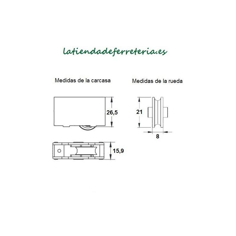 Rueda o Rodamiento Plástico Ventana mod. 1 medidas