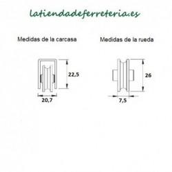 Rueda o Rodamiento Metalico rf. 125 medidas