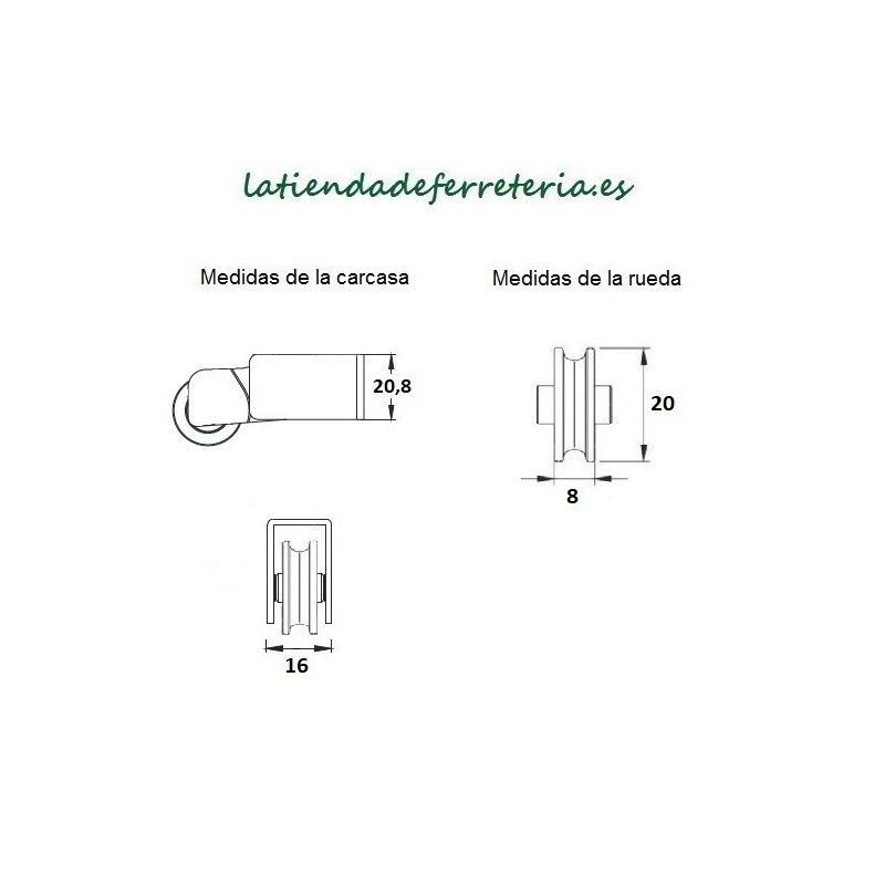 Rueda o Rodamiento Metalico rf. 164 medidas