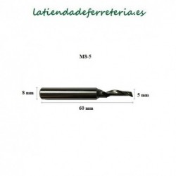 Fresa M8-5 DIN HSSE para Aluminio medidas