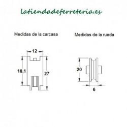 Rueda o Rodamiento Plástico Ventana Serie 600 medidas
