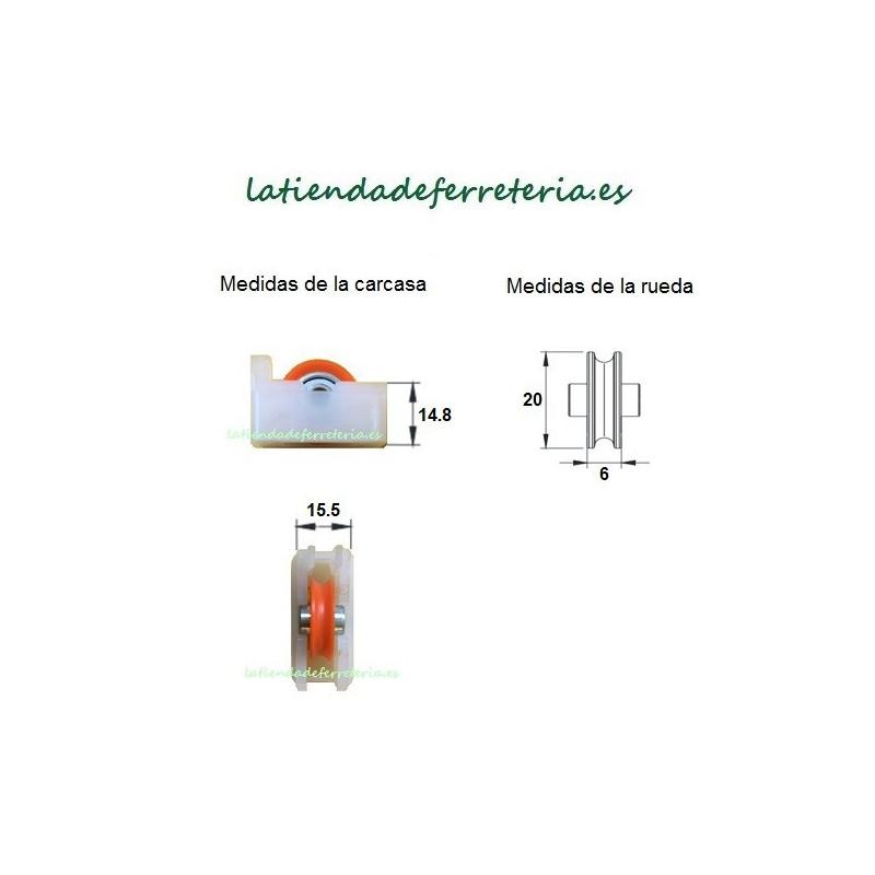 Rueda o Rodamiento Plástico Ventana Serie Antigua medidas