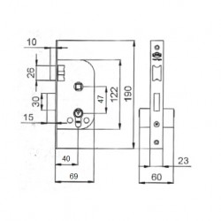 Cerradura Ucem 5134 HL040 Picaporte y Palanca medidas