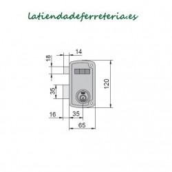 Cerradura Ucem 4056A HB60 Picaporte Pestillo medidas