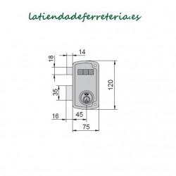 Cerradura Ucem 4056A HB70 Picaporte Pestillo medidas