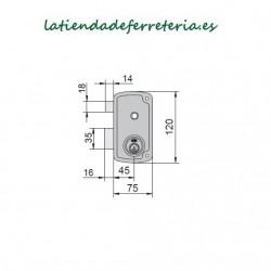 Cerradura Ucem 4056B HB70 Picaporte Pestillo medidas