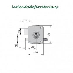 Cerradura Ucem 4125 HB014 Picaporte Pestillo medidas